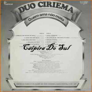 Verso-Duo Ciriema - 1983 - Quem Ama Não Mata