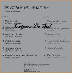 Verso-Os Filhos De Aparecida - 1978